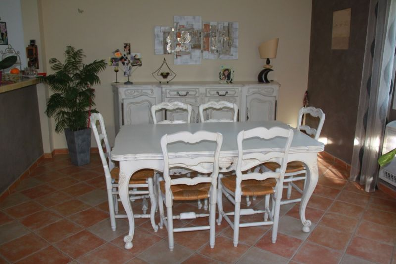 salle manger pin en craie patine b ton relook meubles - Salle A Manger Blanc Vieilli